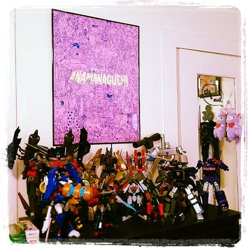harajuku-chola :     Hi! We are grown adults living in a toy house ⊙ω⊙ #anamanaguchi #transformers #collection