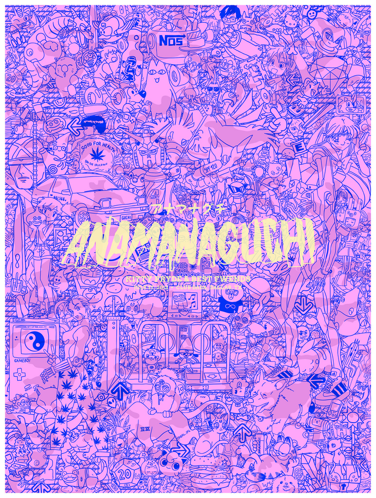 chineseknees :     Just finished up this poster I made for my fav band,  Anamanaguchi . This was a collaboration with my friend, Connor Hill, of  Magnificent Beard  who did the typography. I'm gonna hand screenprint these posters for their Dallas show - Wed, July 17.  Buy tix  here  - its gonna be goooood.   <3    full size version  here  for detail…