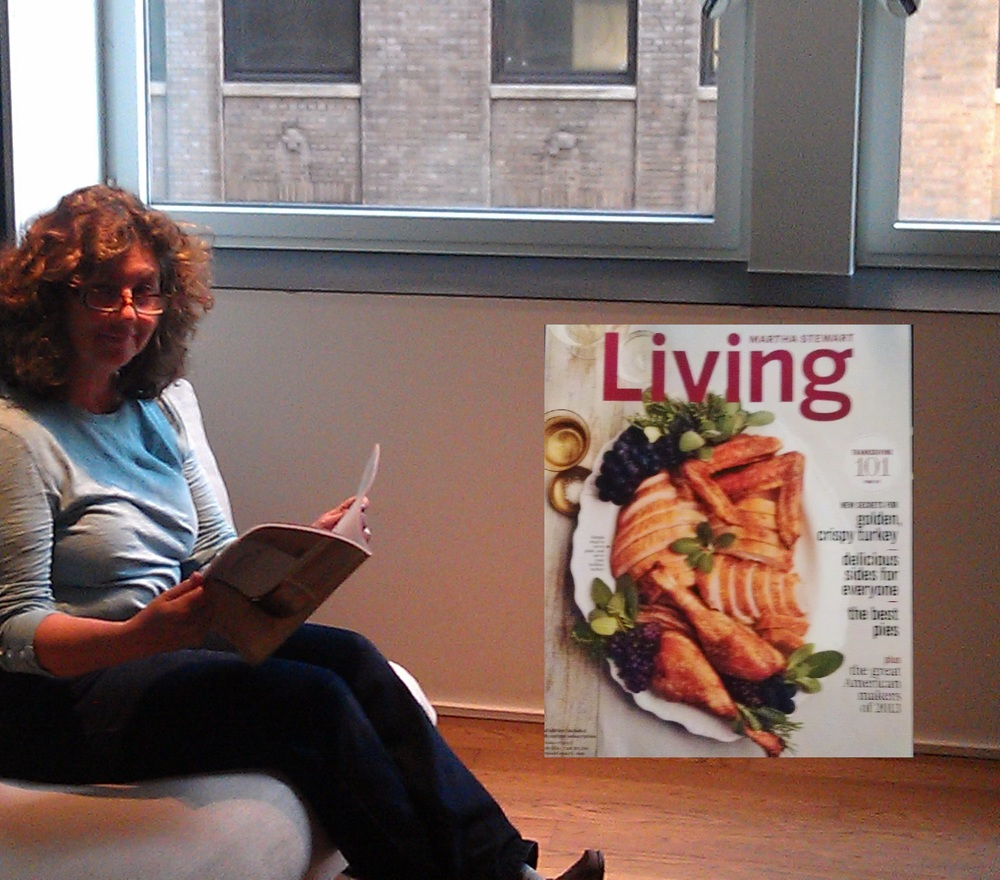 The November issue of Martha Stewart Living featuring the American Made honorees is on sale now. Here, Jinny enjoys her copy from the room at Andaz.