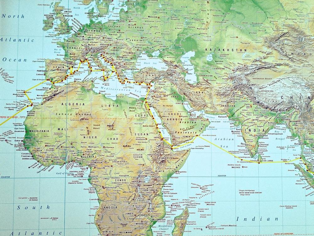 Egypt into Mediterranean & Cyprus, Turkey, Greece, Croatia, Italy, Sicily, Sardinia, Corsica, France, Spain, and   Portugal.
