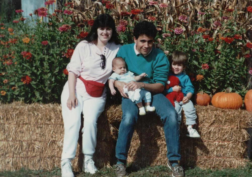 At the pumpkin patch, 1990
