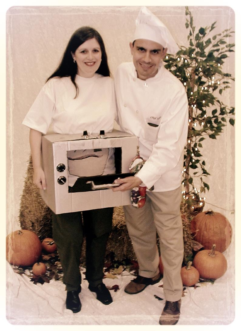 """Chef Jeff"" and me, with a ""Bun in the oven"" (Sabrina!),2000"