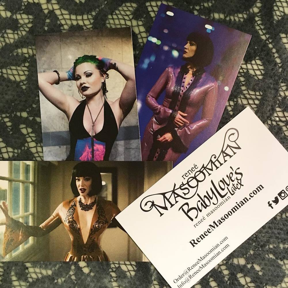 Just received some new business cards in the mail featuring the lovely @jeanbardot and @amber_deville. #babyloveslatex #ReneeMasoomian #latexclothing #marblelatex #latexlace #latexfashion #latex #latexmodel #latexdesigner #fetishcouture