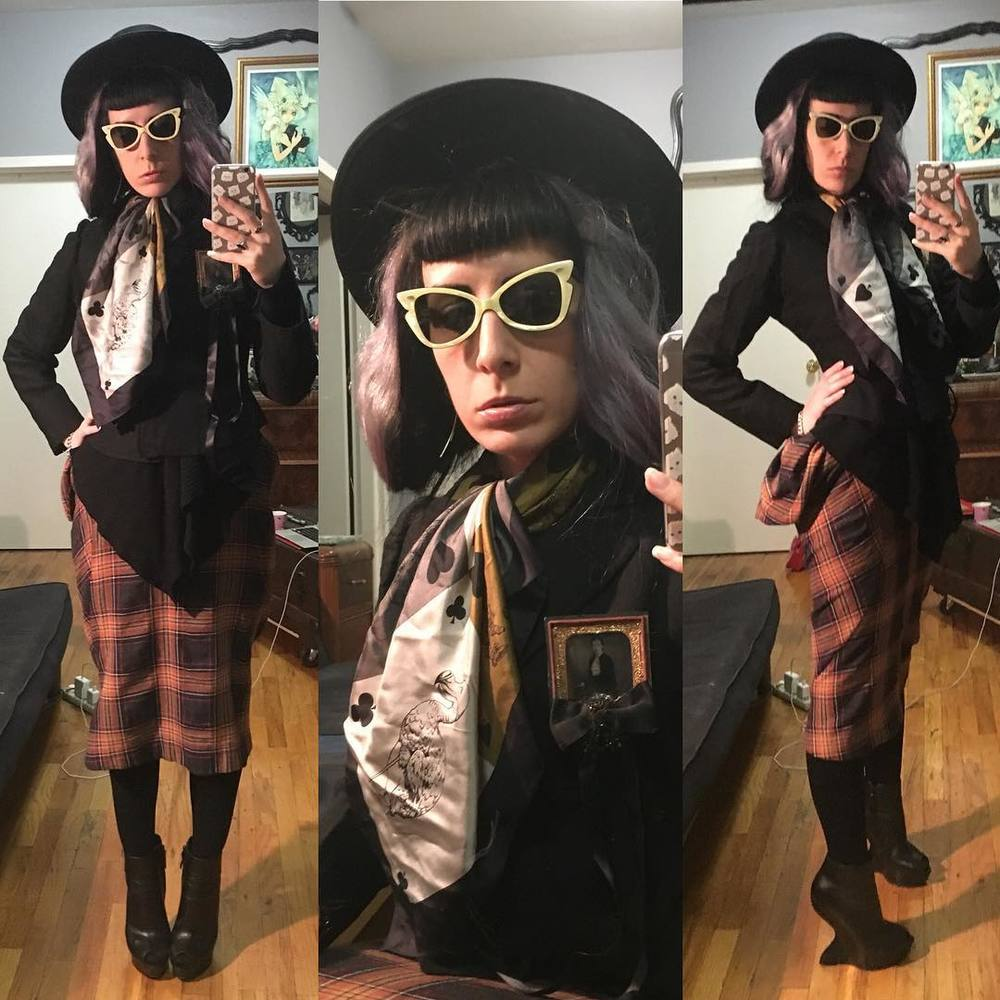 After being cranky all day I decided to put on one of my favorite skirts to run errands. #vintagehat, #vintagesunglasses, #victorianjacket, @purevile broach, #aliceinwonderland scarf, #viviennewestwood skirt, #alexandermcqueen #heelless heels. #darkstyle #darkfashion #nycstyle #nycfashion #vintagefashion #vintagestyle