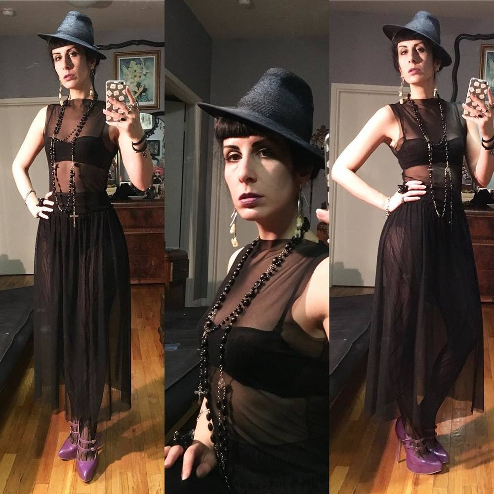 Off to some fun, ending up who knows where tonight. #vintagehat, #laperlalingerie underthings, #ReneeMasoomian dress, and amazing shoes from one of my favorite designers #natachamarro; which may or may not have been a pain pill induced purchase from when I was immobile last month. #nycstyle #nycfashion #nycdesigner #nycnightlife #darkfashion #darkstyle #sheerdress