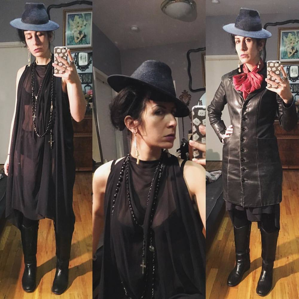 Dressed for a casual night in Brooklyn. Absolutely loving my new #vintagehat. #ReneeMasoomian dress, #fryeboots, #alexandermcqueen scarf, old #bestyjohnson #leatherjacket that was a hand-me-down I got in high school. #nycfashion #nycstyle #darkfashion #darkstyle