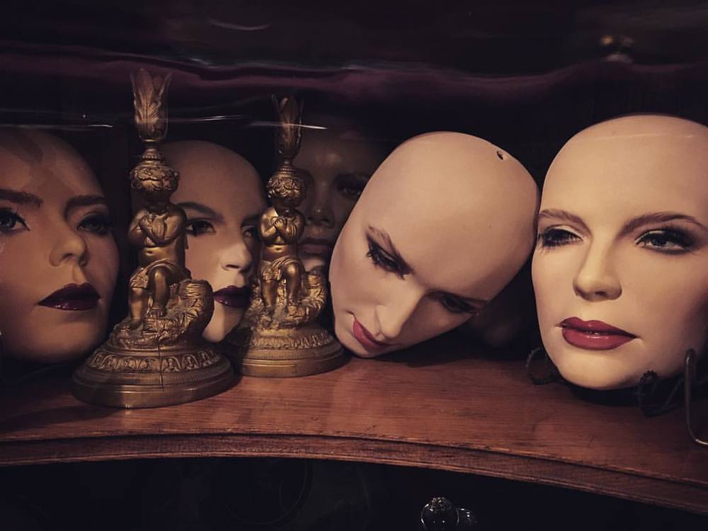 Found these beauties in Philly last weekend. It took all my power not to buy them all. #mannequin #mannequinhead #masks #antiquestore