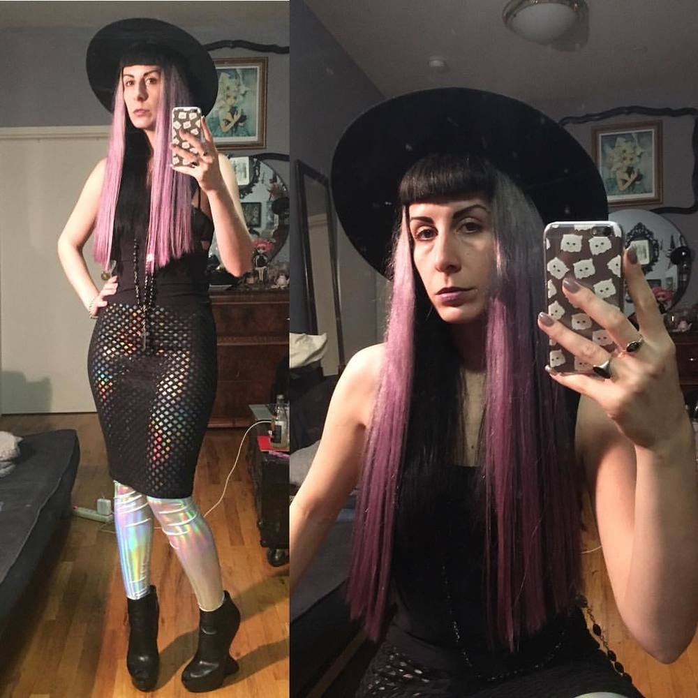 Feeling all shinny and new. With new #reneemasoomian #iridescent leggings and #neoprene net skirt (both will be available on our site soon), #alexandermcqueen #heelless shoes, and #newhaircut. But the same old #vintagehat that I love. #darkstyle #darkfashion #lavenderhair #purplehair #dark #style #fashion #nycfashion #nycstyle #nycdesigner