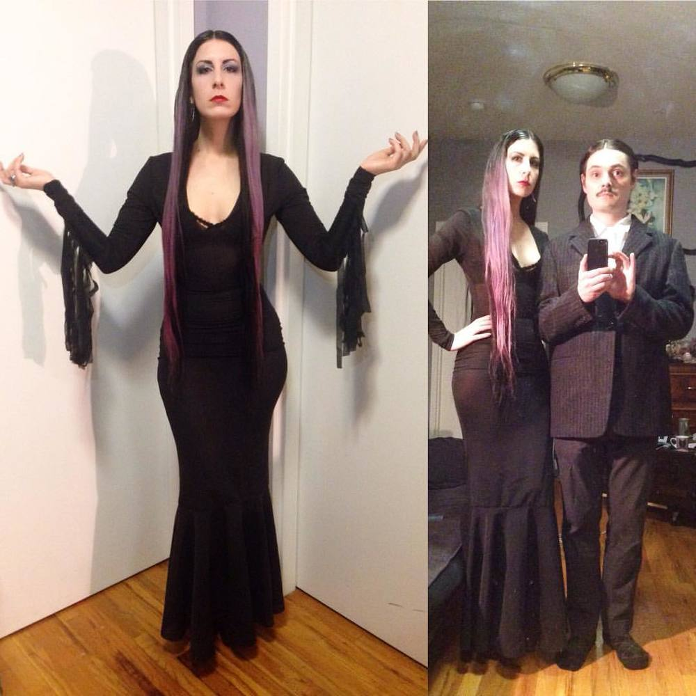 Finished the dress just in time to get dressed. Being #morticiaaddams for #halloween tonigh with @joshuajanke as my #gomezaddams. I am quite loving this dress and I'm sure it will turn into a more common staple to my wardrobe. #addamsfamily #halloweencostume #nychalloween