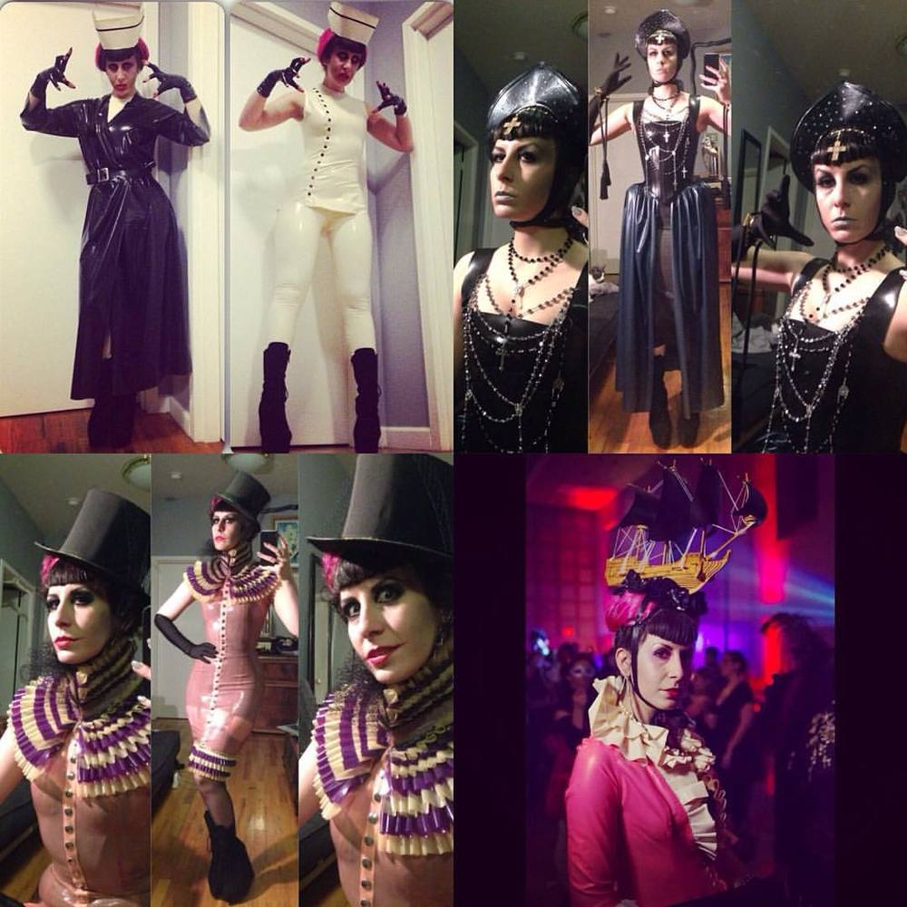 Haven't even had time to think of what to be for Halloween this year. Here are some ideas from yeas past. #psychonurse, #evilqueen, #fancyclown, and #marieantoinette. I think this year might be a bit more low key due to lack of time. #latex #latexfashion #latexnurse #halloweenstyle #halloween #halloweencostume