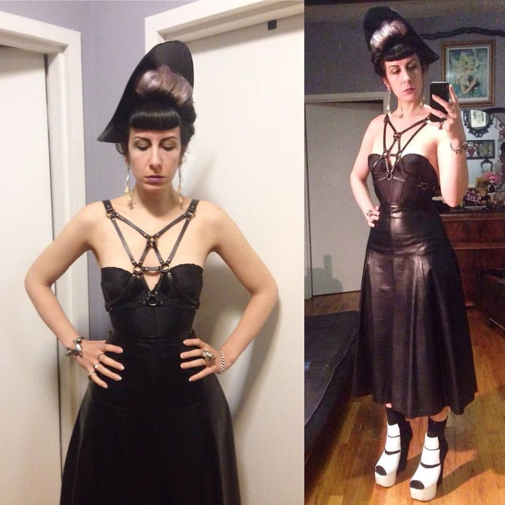 Off to see @sophireaptress while she is in town. #babyloveslatex #latexhat, #leather #fashionharness, #vintagelingerie #backlessbra, #leatherskirt from a  thrift shop, #garethpugh wedges. #darkstyle #darkfashion #darkcouture #fetishfashion #nycnightlife #nycstyle #nycfashion