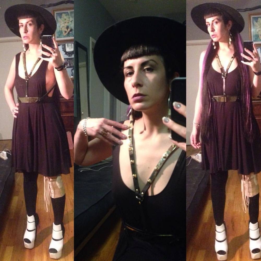 Dressed for dinner with friends. #vintagehat, #ReneeMasoomian dress, #topshop #fashionharness, #vintagebrace (not worn for fashion), #garethpugh wedges. #teethearrings, #viviennewestwood ring and #alexandermcqueen bracelet. #nycstyle #darkstyle #darkfashion #dark #style #fashion