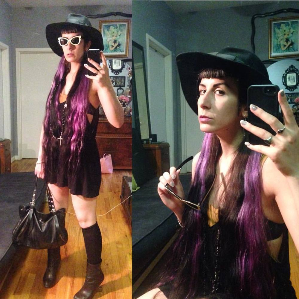 I know I'm instantly going to regret wearing my hair down today. #vintagehat, #vintagesunglasses, #thriftshop tops as dresses, #viviennewestwood purse, and #unitednude heels. #purplehair #lavenderhair #realhair #noextensions #yesmyhairisreal #darkstyle #darkfashion #streetwear