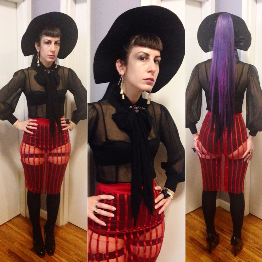 Off to #dancesofvice mods vs rockers #4thofjuly party. #vintagehat, #sheerblouse, #laperla skirt and underthings, #viviennewestwood broach and heels. Wearing my one ponytail of the year to show off my new #haircolor for once. #realhair #purpkehair #lavenderhair #darkstyle #darkfashion #fashion #style #dark #darkcouture #nycfashion #nycstyle