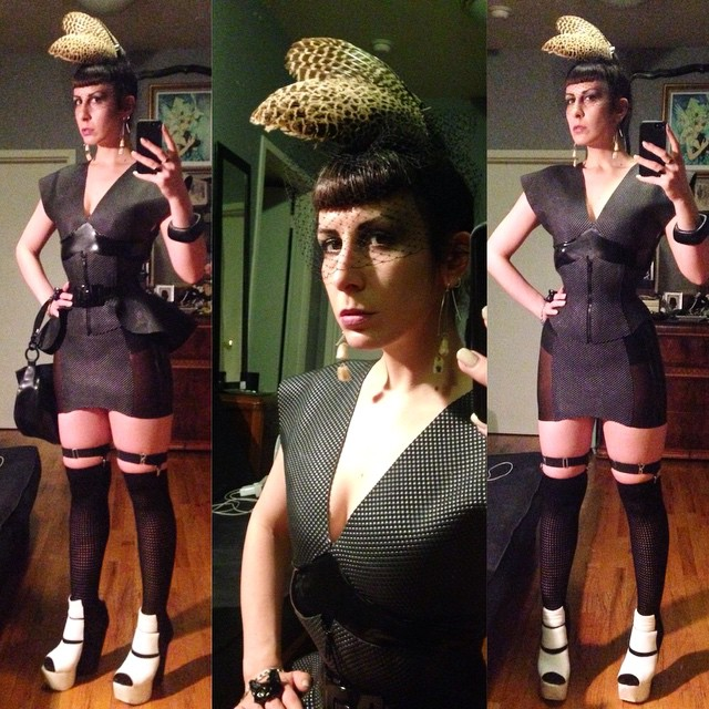 Feels like I haven't been out in ages. I'm giving myself the night off from working to go see some friends. #babyloveslatex #texturedlatex exaggerated shoulder top, girdle #latexskirt, #latexcincher, and #peplum belt, with non textured #latex purse. #garethpugh shoes. #pheasant wings #headpiece. #latexfashion #latexcouture #latexclothing #customlatex #bespokelatex #latexfetish #darkfashion #darkstyle #dark #fashion #style #nycnightlife #allblack #blacklatex