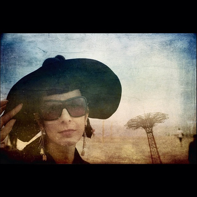A #doubleexposure from today at #coneyisland #mermaidparade by @joshuajanke. #vintagehat, #alexandermcqueen sunglasses, and #humanteeth earrings. #boardwalk #artphotogram #artphotography #portraiture #portrait #portraitphotographer #portraitphotography #artphotographer #vintagefashion #vintagestyle #vintage #nycstyle #nycfashion #darkstyle #darkfashion