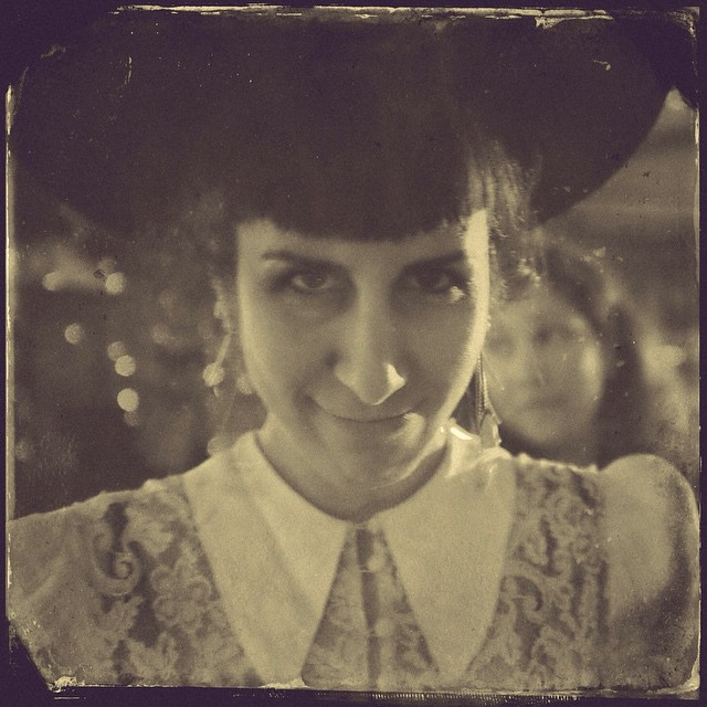 Feeling a bit devilish. Photo from last night by @joshuajanke. #vintagehat and #dressinggown, with human #teethearrings. #tintype #blackandwhite #blackandwhitephotography