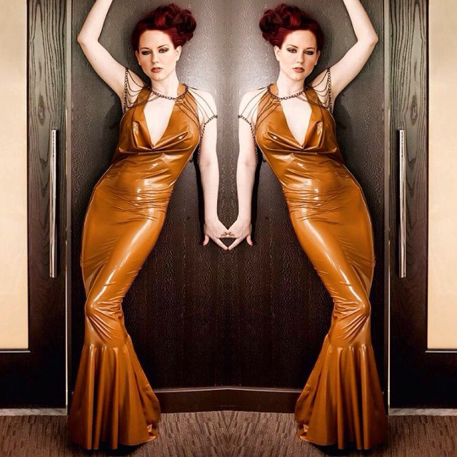 Double vision of @angelaryan in our #BabyLovesLatex #latex cowl gown. Available on #reneemasoomian.com. #latexfashion #latexdress #latexdesigner #latexcouture #latexfetish #fashionlatex #latexclothing #fashionphotography #latexphotography #darkstyle #darkfashion #dark #style #fashion #nycfashiondesigner #darkcouture