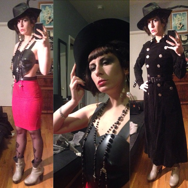 Heading out tonight in the prototype ##BabyLovesLatex top, #vintagehat, #laperla skirt, #wolford tights, #sorrel #rainboots, and old #betsyjohnson #trenchcoat. With the trench on I feel a bit like #dicktracy. #darkstyle #darkfashion #dark #style #fashion #nycnightlife #latexfashion