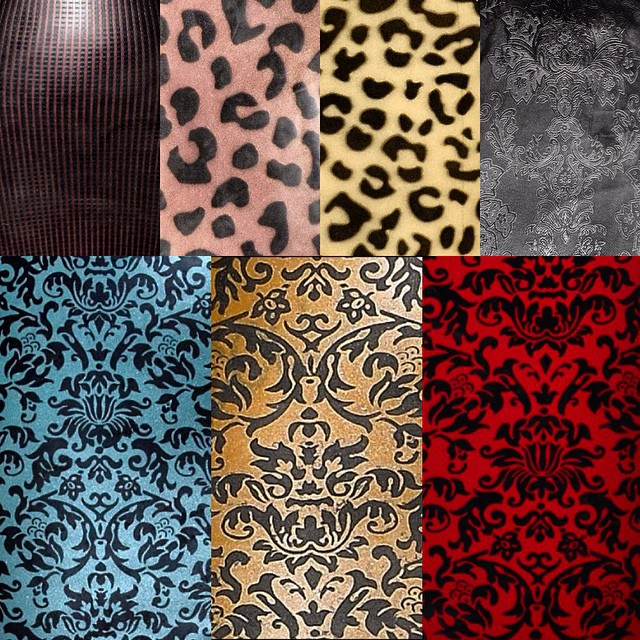 Some of the color options of our custom #damaskprint #latex that we do in studio and some of the #leopardlatex and #texturedlatex that we have been importing. All #BabyLovesLatex and #soliloquylatex on #reneemasoomian.com is available in any of these patterns or textures. #fashionlatex #latexfashion #patternedlatex #damasklatex #leopardprint #latexfetish #latexcouture #latexclothing #bespokelatex #latexdesigner