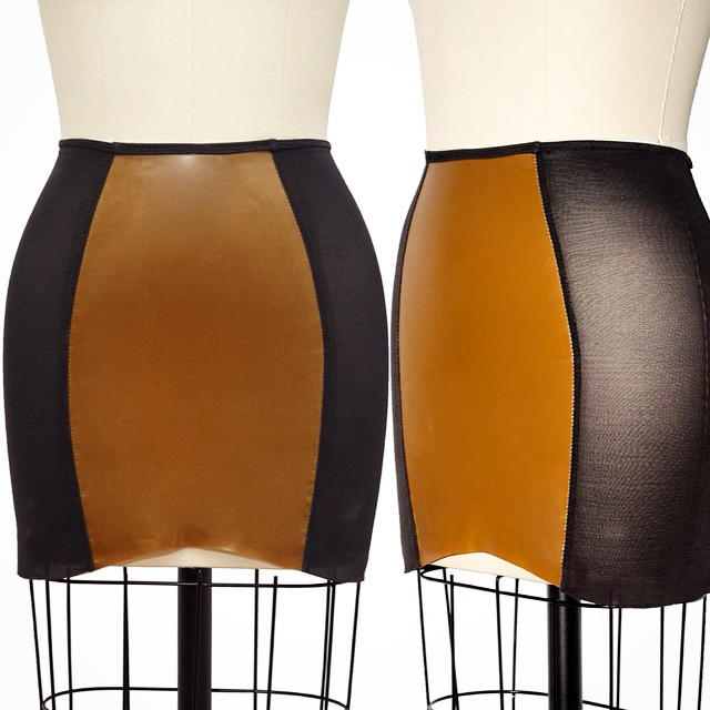 Finally up on #reneemasoomian.com from our signature line our #Latex and #PowerMesh Skirt.                       A classic #girdle shaped skirt that is shorter in the front then the back.  This skirt is a mixed media of classic power mesh and latex.  Requires no dressing aid to put it on but we suggest to care for the latex as normal. #latexfashion #fashionlatex #darkstyle #darkcouture #darkfashion #dark #style #fashion #lingerieaddict #lingeriefashion #lingerielove #nycfashion #nycfashiondesigner #latexskirt #bespokelatex #BabyLovesLatex