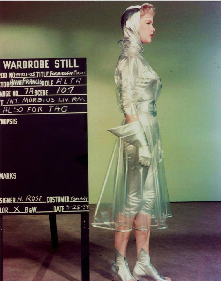 gdshrtflms :      Anne Francis,  , wardrobe still for the film FORBIDDEN PLANET, 1954