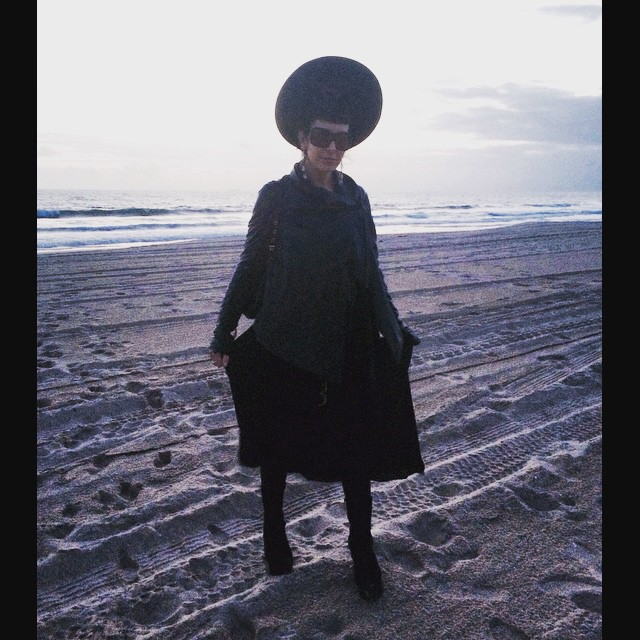 Yesterday in completely #beach appropriate fashion. #vintagehat #alexandermcqueen sunglasses, #leatherjacket, #rickowens dress, and #jefferycampbell wedges. #allblack #beachstyle #beachfashion #dark #darkstyle #darkfashion #fashion #style #thisishowibeach