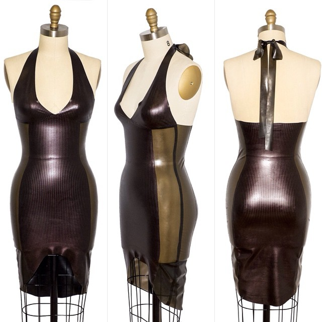 Our Textured Latex Panel Halter Dress is now up on #reneemasoomian.com. It's available in any color way or I stock #texturedlatex. #BabyLovesLatex #latexdesigner #latexdress #dark #darkfashion #darkstyle #style #fashion #fashionlatex #fetishfashion #nycfashiondesigner #latexfashion #latexfetish #bespokelatex #halterdress