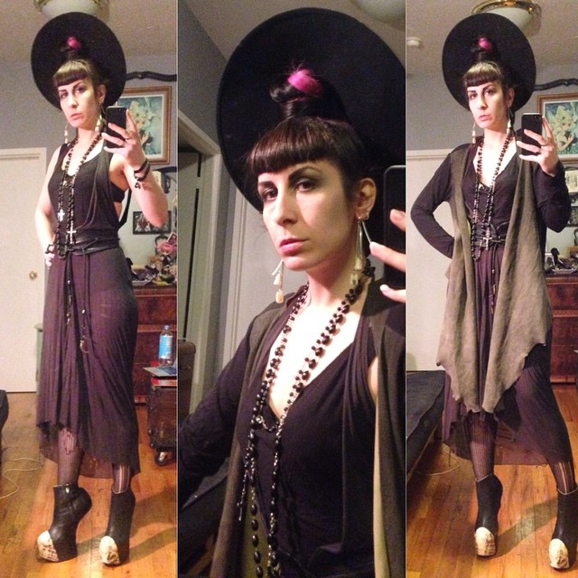 Off to catch up with some friends. #vintagehat, #reneemasoomian top, dress, and sweater, #wolford tights, #NatachaMarro #heelless booties. #darkstyle #darkfashion #dark #style #fashion #nycfashion #nycstyle #nycdesigner #nycnightlife
