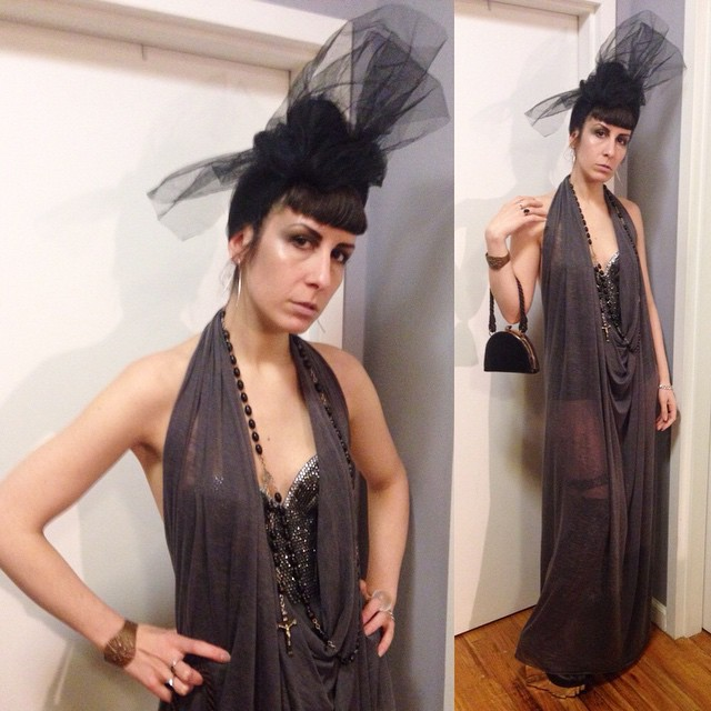 Happy that it's nice out so I feel a bit of party hopping will happen tonight. #headpiece, #crystaled bra, and dress #reneemasoomian, #vintage purse and cuff, #unitednude heels. #dark #darkfashion #darkstyle #fashion #style #nycstyle #nycfashion #nycnightlife #vintagepurse