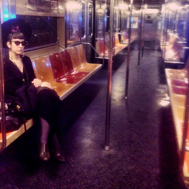 Just me casual like in an empty subway car. Photo by @joshuajanke. #blackhat, #vintagemugler sunglasses, #rickowens dress, #unitednude heels. #nycfashion #nycstyle #nycsubway #subway #dark #darkstyle #darkfashion #fashionphotography #nycphotography #streetstyle #nycphotographer