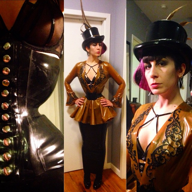 Heading out to the #grandcorsetball later tonight. #BabyLovesLatex #latexhat, #latexjacket, #latexcorset, and #latexskirt, #agentprovocateur bra, #viviennewestwood heels. #latex #latexfashion #fashionlatex #couturelatex #latexcouture #corset #wastcincher #dark #darkstyle #darkcouture #darkfashion #avantgarde #style #fashion #nycdesigner #nycnightlife