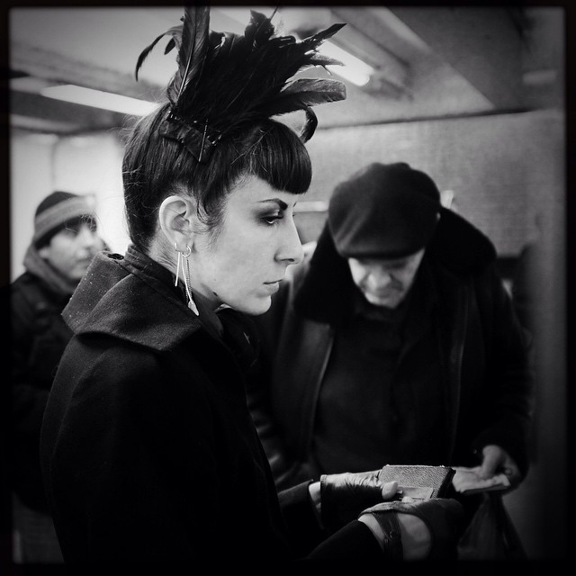 A photo by @joshuajanke of me in the subway. #nycstyle #nycfashion #portrait #portraitphotography #nycsubway #blackandwhite #blackandwhitephotography #blackandwhitephoto #dark #darkstyle #darkfashion #style #fashion #feather #nyclife