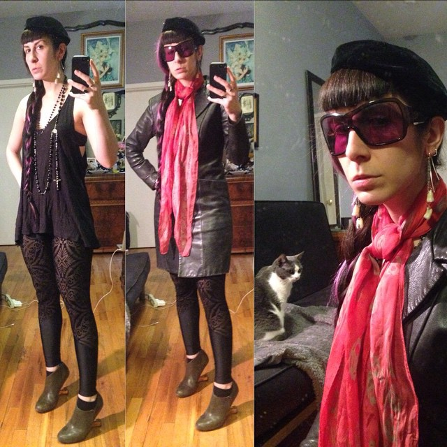 I love that it's finally nice enough to wear my @sophireaptress leggings! Paired with #vintagehat, #Alexandermcqueen scarf, #betsyjohnson #leatherjacket, and #unitednude heels. #dark #darkstyle #darkfashion #fashion #style #nycfashion #nycstyle #nomakeup