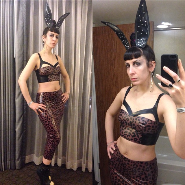 Heading to dinner on the last night of #texaslatexparty. #BabyLovesLatex #bunnyears and #leopard #printedlatex #latexskirt and top, with #natachamarro #heellessshoes. #latex #latexfashion #latexcouture #dark #darkstyle #darkfashion #fashion #style #fetishwear #fetishfashion #latexdesigner