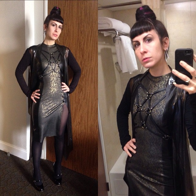 A little bathroom photo before starting up vending at #texaslatexparty for the weekend. #BabyLovesLatex dress, #ReneeMasoomian #latex sweater, @deliciousboutique #fashionharness, and #viviennewestwood heels. #dark #darkstyle #darkfashion #latexfashion #latexfetish #fashionlatex #fetishfashion #latexdress #printedlatex #latexcouture #fashion #style