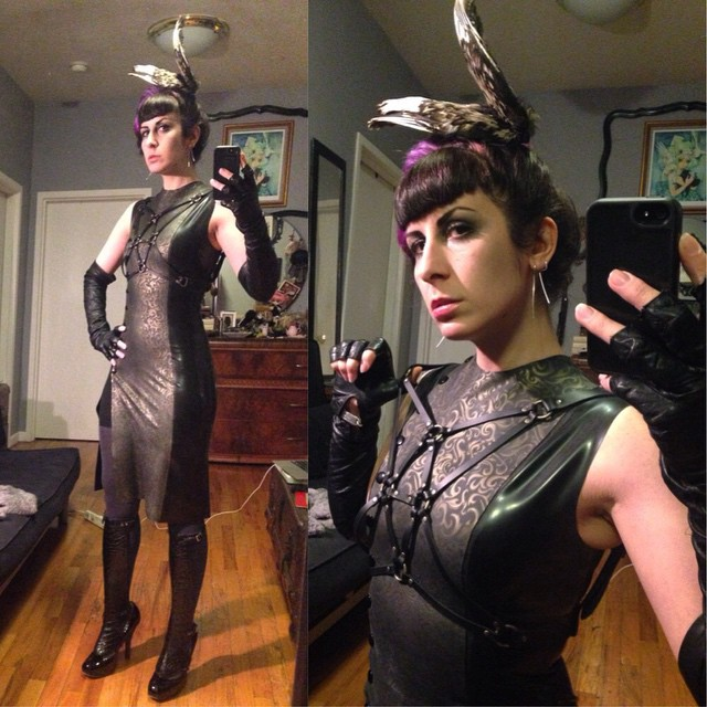 Heading out to Dorian Gray tonight to have another night of birthday fun. #ReneeMasoomian #birdwing #headpiece, #fashionharness from @deliciousboutique, #BabyLovesLatex dress, #vintagegloves, #leather spats made of alligator, and shoes by #viviennewestwood. #darkstyle #darkfashion #dark #fashion #style #nycnightlife #nycfashion #nycstyle #latex #latexfashion #latexcouture #fashionlatex #latexdesigner #latexclothing #fetishfashion