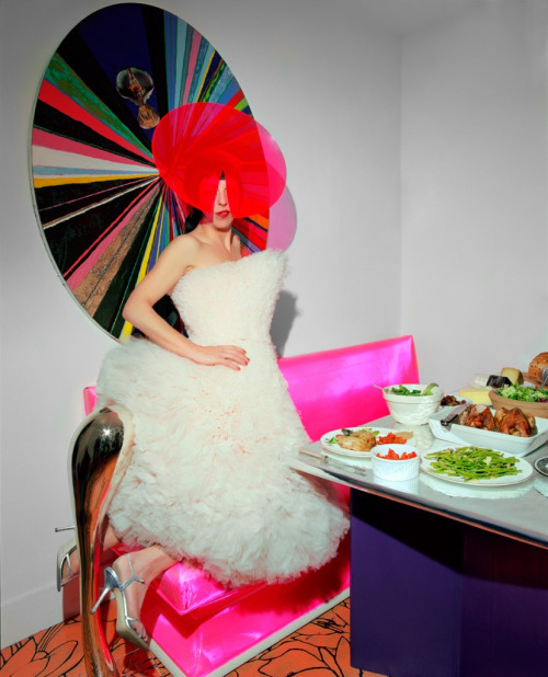 caramelpussy: Isabella Blow in a Hussein Chalayan dress, and a Philip Treacy hat For New York Times Style