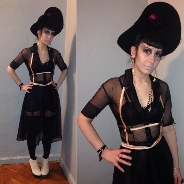 Heading out tonight in the cold. Dressed in #blackhat, #old #Betsyjohnson dress, #vintagebra, #vintagegirdle, #laperla #fashionharness, and #unitednude wedges. #allblack #dark #darkstyle #darkfashion #style #fashion #nycnightlife #nycfashion #nycstyle