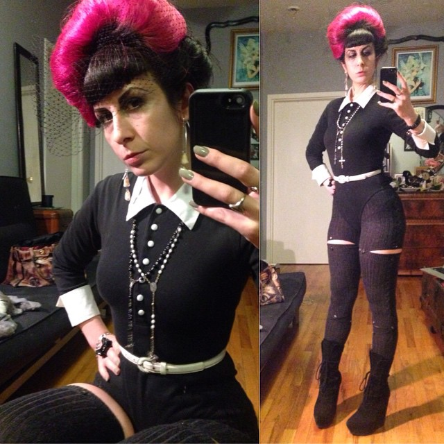 So much to do tonight and still have to try and stay warm. #vintage #bodysuit and belt, #wolford wool tights, #Alexandermcqueen skull bracelet, #jeffreycampbell boots. #darkfashion #darkstyle #dark #style #fashion #nycnightlife #nycstyle #blackandwhitestyle #blackandwhite #pinkandblackhair #pinkhair