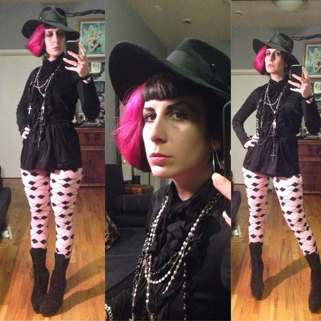 Heading out early tonight. #vintagehat, #junyawatanabe top, #viviennewestwood by #wolford tights, #jeffreycampbell boots. #dark #darkstyle #darkfashion #style #fashion #nycfashion #nycnightlife #pinkhair #pinkandblackhair