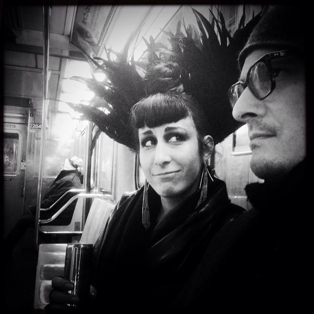 Subway ride with and photo by @JoshuaJanke. #nycstyle #nycsubway #portrait #nycstreetfashion #NYCstreetphotography #subway