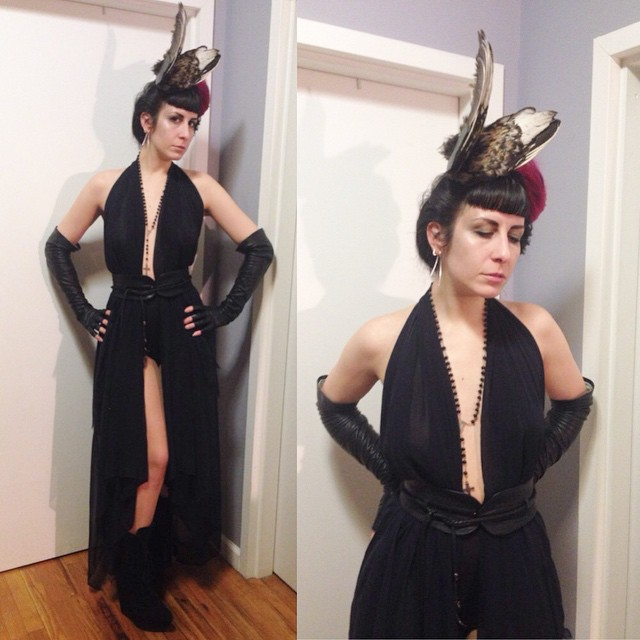 Heading out for the night in #ReneeMasoomian #birdwing hat and silk dress, #skingraft belt from @deliciousboutique, #vintage leather gloves, and #jeffreycampbell boots. #dark #darkstyle #darkfashion #nycnightlife #style #fashion #nycstyle