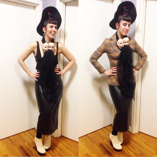 Heading out tonight in the cold. #blackhat, #vintage blazer, #ReneeMasoomian tank and #dollhead scarf, #thriftstore #leatherskirt, and #unitednude wedges. #dark #darkstyle #darkstyle #style #fashion #nycfashion #nycstyle #nycnightlife