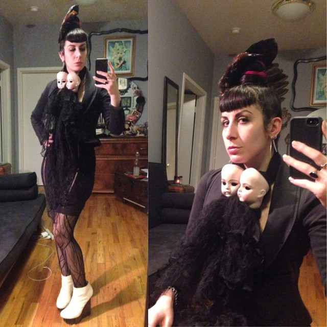 Heading out tonight. #reneemasoomian #birdwing headpiece and #dollhead scarf, #viviennewestwood blazer, #laperla skirt and stockings, with #unitednude wedges. #darkstyle #darkfashion #dark #fashion #style #nycfashion #nycfashiondesigner #nycstyle