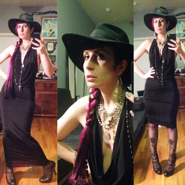 Heading out to have dinner with some friends. #vintagehat, #ReneeMasoomian dress, @purevile necklace, #wolford tights, #viviennewestwood heels. #dark #darkstyle #darkfashion #fashion #style #nycstyle