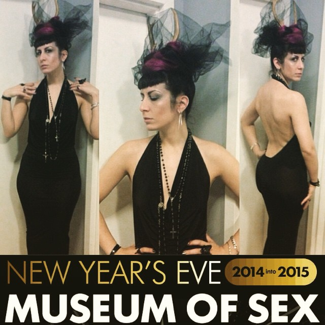Let's ring in the #newyear at the #museumofsex this Wednesday. Photo from last year wearing #ReneeMasoomian dress and #deerantlers. #nycnightlife #newyearsparty #nycnewyears