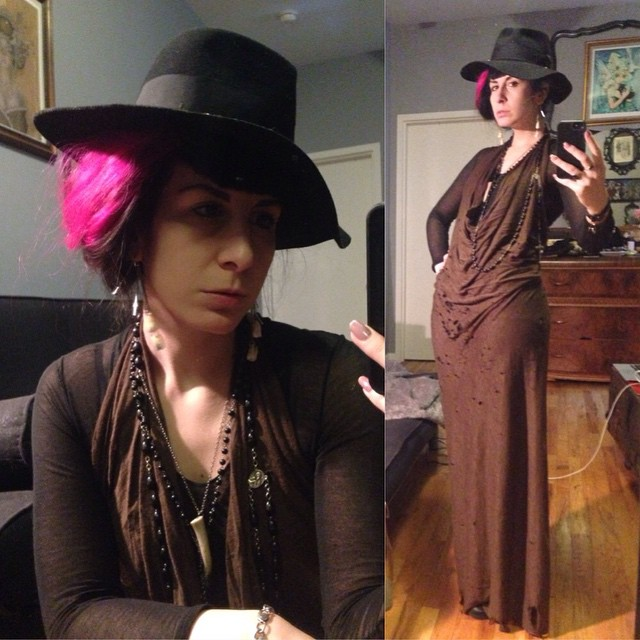 Off to have some daytime fun. And to see where I end up. #blackhat, #ReneeMasoomian dress, #helmutlang top, #dark #darkstyle #darkfashion #fashion #style #nycfashion #nycstyle #winterfashion #witchy #wool