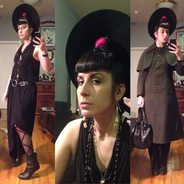 Heading out for the night. #vintagehat, #rickowens dress, #laperla tights, #unitednude heels, #vintagejacket, and #viviennewestwood purse. #dark #darkstyle #darkfashion #fashion #style #wintercoat #winterfashion #nycfashion #nycstyle