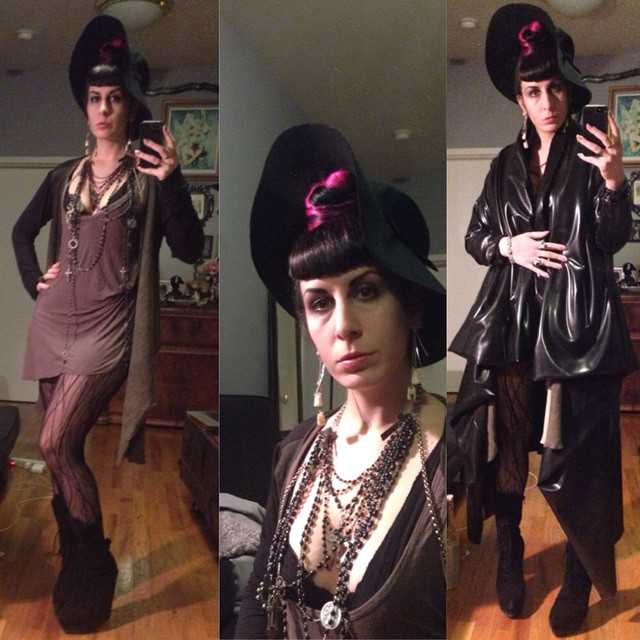 Heading out tonight in my new @purevile necklace. #ReneeMasoomian #latex #wintercoat and #leathersweater, #blackhat, #helmutlang top, #laperla tights, #jefferycampbell boots. #darkstyle #darkfashion #dark #fashion #style #latexfashion #latexdesigner #latexfetish